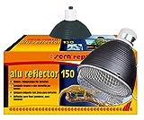 sera 32014 Reptil - Lámpara de techo con pinza de aluminio reflector para terrarios con casquillo de cerámica resistente al calor E27, diámetro 15 cm