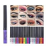 Greyghost Liquid Eyeliner Juego de delineador de ojos con purpurina de 12 colores,lápiz delineador...