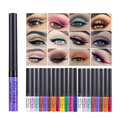Allbesta 12 Farben Bunt Liquid Eyeliner Set Matte Wasserfest Make Up Set Rainbow High Precise Liner