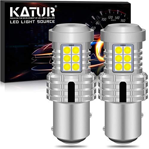 KATUR 1157 BAY15D P21/5W 1034 Bombillas LED Superbrillantes 12pcs 3030 y 8pcs 3020 Chips Canbus Error Señal de giro libre Freno trasero Cola de estacionamiento Luces,Xenón...
