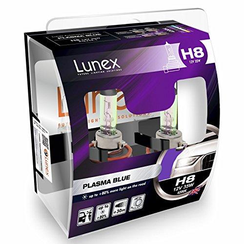 LUNEX H8 PLASMA BLUE Ampoules Halogenes Phare Bleu 708 12V 35W PGJ19-1 4200K duobox (2 pièces)