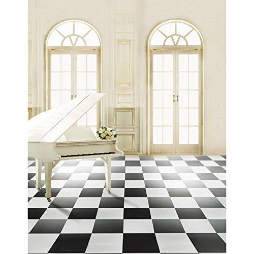 Meer 5x7ft Vinyl Digitaal Zwart En Wit Piano Bloem Fotografie Studio Achtergrond