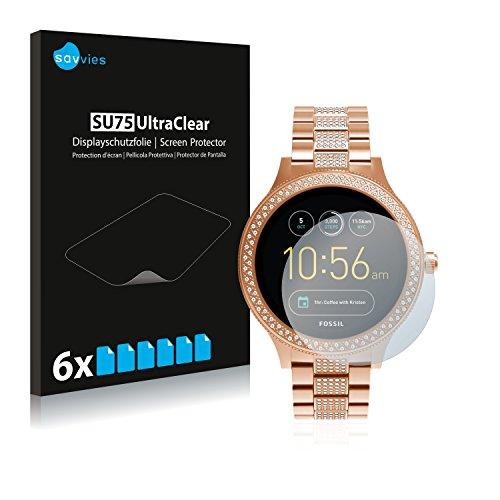 Savvies 6X Schutzfolie kompatibel mit Fossil Q Venture/Q Venture (3.Gen) Displayschutz-Folie Ultra-transparent
