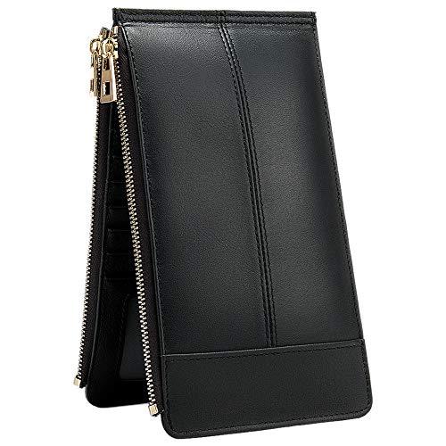 """Carteira feminina de couro legítimo com bloqueio de RFID, suporte para vários cartões, bolso minimalista com zíper para telefone, Preto, 7.2"""" * 4.1"""" * 0.6"""""""