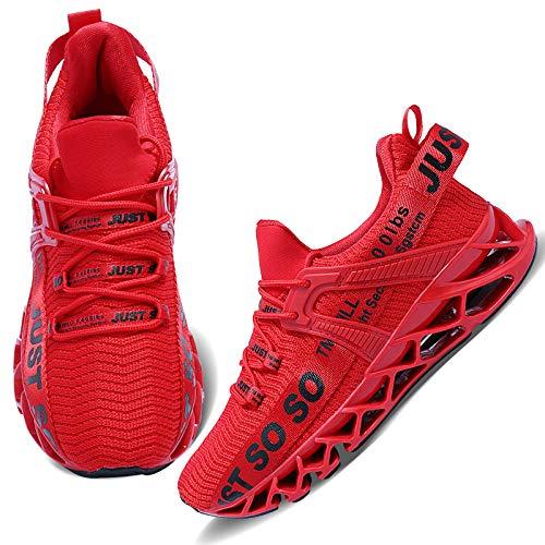 Wonesion Damen Laufschuhe Sportschuhe Straßenlaufschuhe Sneaker Damen Tennisschuhe Fitness Schuhe, 2 Rot, 38 EU