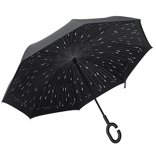 PLEMO Regenschirm Stockschirm Double Layer umgekehrt, doppellagig und selbststehend, Abdeckung von 108 cm