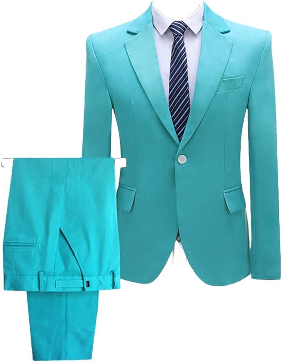 Men's 2 Pieces Suits One Button Slim Fit Blazer Business Wedding Dress Jacket Pants Formal Suit Set