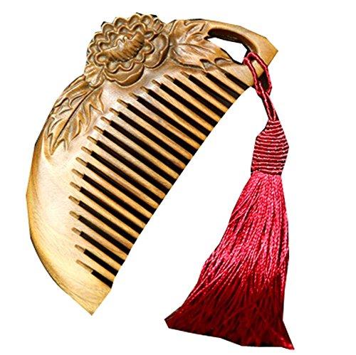 Peigne en bois rouge pivoine macramé Palo Santo Peigne anti-statique