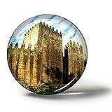 Hqiyaols Souvenir Portugal Guimaraes Castle Imanes Nevera Refrigerador Imán Recuerdo Coleccionables Viaje Regalo Circulo Cristal 1.9 Inches