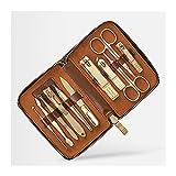 Kit de Cortaúñas Set de manicura Kit de pedicura de corte de uñas -11 piezas Kit de manicura de acero inoxidable Herramientas de cuidado de uñas portátil con estuche de viaje de cuero (azul / marrón /