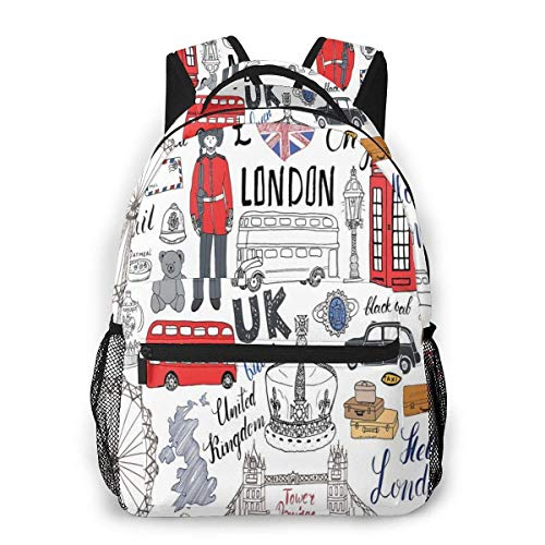 Lawenp School Backpacks i Love London Double Decker Bus Telephone Booth Cab Crown of United Kingdom Big Ben for Teen Girls&Boys 16 Inch Student Bookbags Laptop Casual Rucksack
