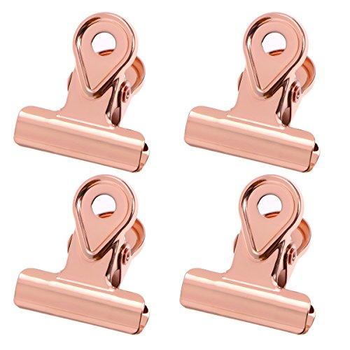 Toyvian 20 stücke Metall scharnierclips Binder Clips papierklammer Kupfer Bulldog büroklammern-Rose Gold (20mm)