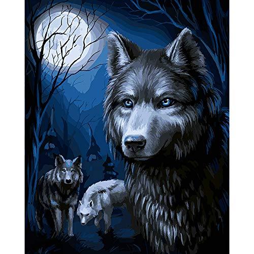 LvJin DIY Pintura Digital Tres Lobos Tarde en la Noche, Lienzo Blanco y Negro sin Marco, 16 * 20 Pulgadas, Pinturas por números, Pintura para Adolescentes