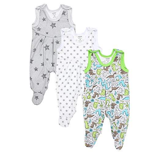TupTam Baby Jungen Strampler mit Fuß 3er Pack, Farbe: Farbenmix 2, Größe: 56