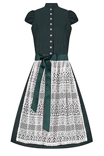 Lieblingsgwand Moser Trachten Baumwolle Midi Dirndl 65er dunkelgrün gepunktet Creme Madleine 006519, Rocklänge: ca. 65cm, mit Knopfleiste, Größe 36