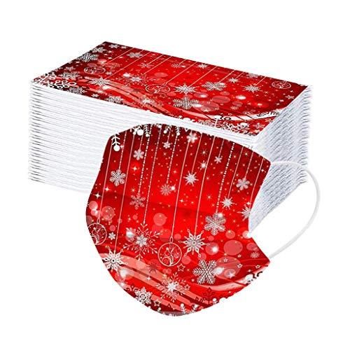 Hanomes 50 Stück Erwachsene_Mundschutz mit Weihnachten Motiv, 3 Lagig Atmungsaktive Bandana Staubdicht Halstuch Face_Cover Winter für Damen und Herren 1109