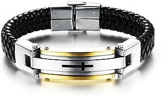 Epinki Mens Stainless Steel Cross Braide Leather Bangle Bracelet