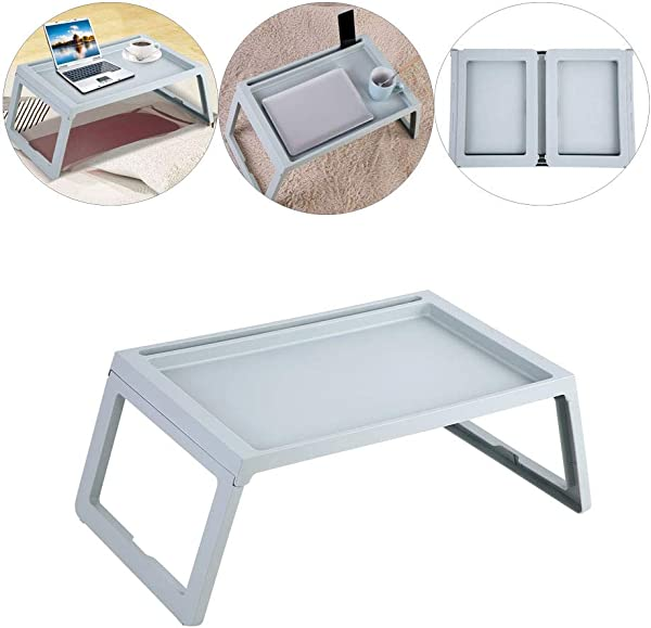 Portable Bed Table Folding Breakfast Bed Table Computer Laptop Tablet Notebook Holder Rack Serving Tray Blue