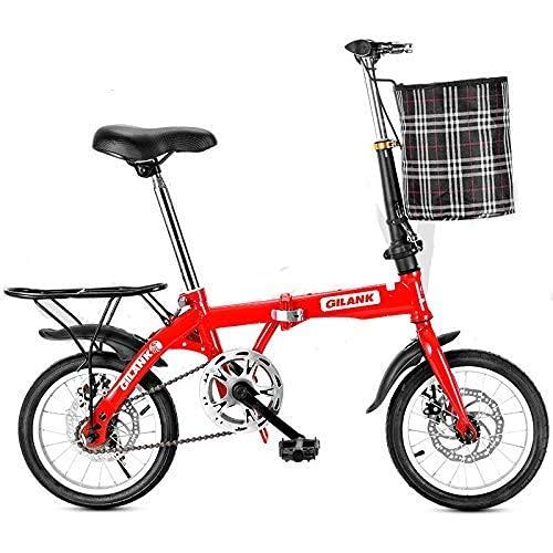 DGHJK Bicicleta Plegable, Bicicletas de Carretera de Material de Acero al Carbono, Bicicletas de Trabajo para Estudiantes a la Escuela, Scooter para Adultos con Freno de Disco de una Sola Velocidad