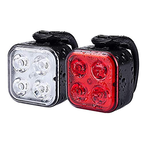 Teshudi Bike Light Set, Rechargeable Bike Lights Front and Back, Super Bright Bicycle Lights, Instant Install, Fits All Bikes, 4 Light Mode, Waterproof, Lightweight, Durable