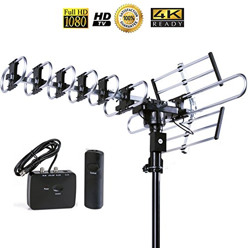 Best Outdoor HD TV Antenna 160 Mile Long Range Remote Controlled 360 Rotation Auto Gained Indoor Antenna plus 4 Way Splitter to Watch on more TVs
