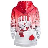 Sweat-Shirt Imprimé Femme Hoodies Vintage NoëL Sweater Chandail Veste Softshell Chaude Casual Veste Kangourou Poches Pas...