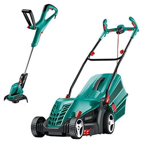 Bosch Rotak 36 R Electric Rotary Lawn Mower, Cutting Width 36 cm & ART 24 Electric Grass Trimmer, Cutting Diameter 24 cm
