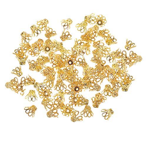 kowaku Espaciadores de Cuentas de Pétalos de Flores de Filigrana de Oro Retro de 100 Piezas para Hacer Joyas