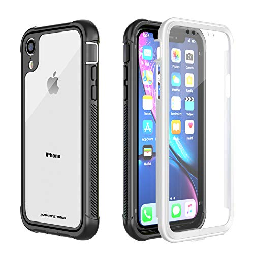 iPhone XR Clear Case, ImpactStrong Ultra Protective Case with Built-in Clear Screen Protector Clear Transparent Full Body Cover for iPhone XR 2018 6.1 inch (White)