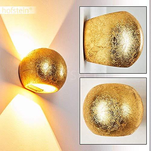 Wandlampe Flot aus Keramik in Gold, Wandleuchte mit Up & Down-Effekt, 1 x G9-Fassung max. 33 Watt, Innenwandleuchte mit Blattgold-Effekt, geeignet für LED Leuchtmittel