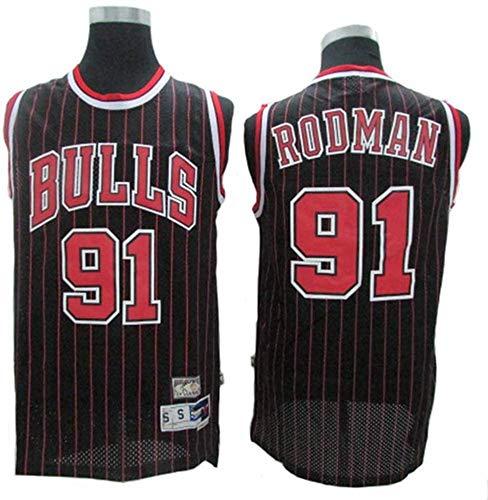 CXJ Jerseys de la NBA de los Hombres - NBA # 91 Dennis Rodman Bulls Chicago Buckbol Jerseys - Fresco de la Tela Transpirable Swingman Vestima sin Mangas Top,B,XXL(185~190CM/ 95~110KG)