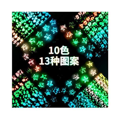 Tiras de origami de estrellas luminosas, fluorescente puede escribir una botella de deseo, botella de vidrio y caja de regalo terminada hecha a mano-A18