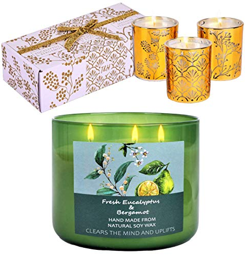 Fragrance Candles Gift Set Natural | Relaxing Holiday Candle Gifts | Fresh Eucalyptus and Bergamot | Gold Wedding Gift Candles Set Persimmon, Wild Strawberry, Eucalyptus Candle Gift Sets for Women