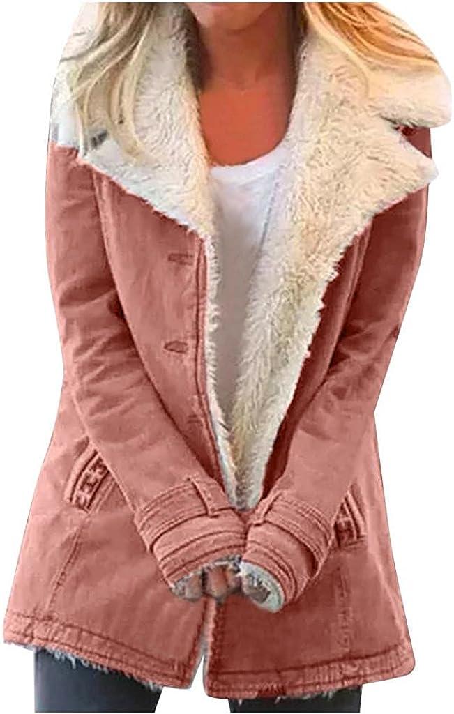 Women's Coat Plus Size Winter Warm Lapel Collar Composite Plush Furry Button Long Sleeve Jacket Outwear Coat