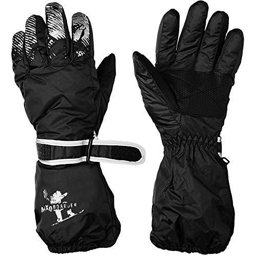 alles-meine.de GmbH Fingerhandschuhe / Handschuhe - Farbe & Größenwahl - Größe 12 bis 15 Jahre - mit langem Schaft - schwarz - LEICHT anzuziehen ! mit Daumen _ wasserdicht + atmu..