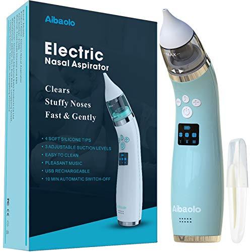 Elektrischer Nasensauger für Babys USB Wiederaufladbarer- Nasenreiniger mit 4 Silikonspitzen und 3 Einstellbaren Saugst?rken für Neugeborene und Kleinkinder - Wunderbare Musik (Blau)