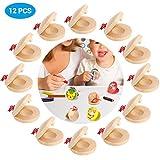 Einsgut Instrumento Castañuelas de Música Infantil 12 UNIDS Castañuelas de Dedo para Niños de Madera Instrumento Musical DIY Herramientas Educativas Regalo de Niños