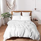 Simple & Opulence - Juego de funda de edredón de 100% lino lavado a la piedra con un estilo básico y moderno, Lino, Blanco, matrimonio grande