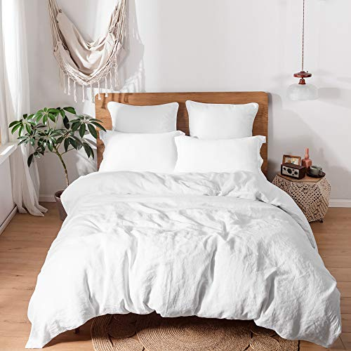 Simple&Opulence 100% Linen Duvet Cover Set with Washed-Belgian Flax-3 Pieces Solid Color Basic Style Bedding Set-Breathable Soft Comforter Cover with 2 Pillowshams(Queen,White)
