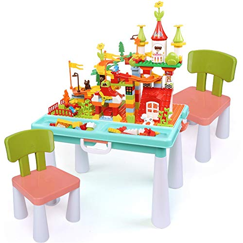 Kids Multi Activity Table Set Building Blocks Pieces Activity Table With Storage For Toddler Building Block Table (Color : Multi-colored, Size : One szie)