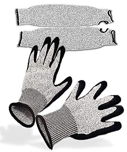 JSORID 軍手 滑り止め 防刃手袋 防刃 アームカバー セット 切れない手袋 作業用 手袋 グレー Lサイズ×2枚+45cm×2枚 (L)