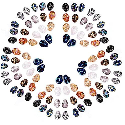 TOSSPER 100 Pcs Color Colorido Cuentas Skull Gothic Skull Beads Halloween DIY Colgante para Pulseras Pendientes Joyería 8 * 10mm 10 Colores