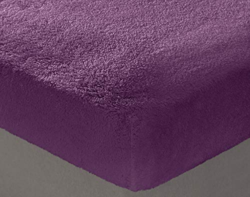 Teddy Bear Bedding Fleece Fitted Sheet - Single/Double/King Size/Super King Sizes - V Pillowcase - Bolster Case (Purple, Single Bed)