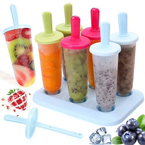 Bluelves Stampi Ghiaccioli, Popsicle Stampi, 6 Pacchi Ice Cream Stampi Set, Riutilizzabili DIY Ice Pop Lolly Frozen Yogurt Bar Ideale per La Preparazione di Ghiaccioli, Gelati, Sorbetti, 3 Colori