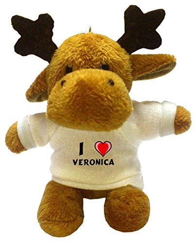 Shopzeus Reno de Peluche (Llavero) con Amo Veronica en la Camiseta (Nombre de Pila/Apellido/Apodo)