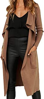 GoodLock Women Long Sleeve Coats Leather Open Front Short Cardigan Jacket Solid Long Coat