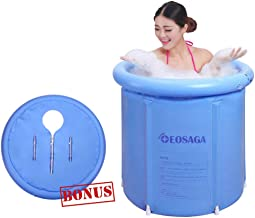 EOSAGA Portable Plastic Bathtub Inflatable Portable Tubs PVC Bath Tub Portable Soaking Tub Inflatable Spa For Adult Bathroom With Air Pump Large Blue