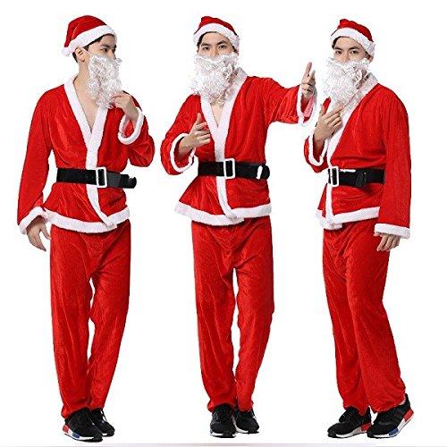 Heren Kerstmis Prestaties Kleding Goud fluweel Kerstman Kostuum Hoed Baard Kleding Broek Riem