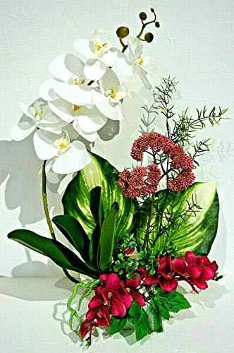 Orchideen im Topf Kunstblumen Tischdeko Künstliche Blumen Deko Dekoration K7 (K7-03)