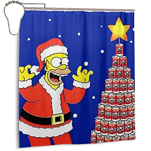 N \ A The Cartoons Simp-sons - Cortina de ducha de Navidad con ojales reforzados, a prueba de salpicaduras, cortina opaca para bañera con 12 ganchos para baño, cocina de 183 x 183 cm